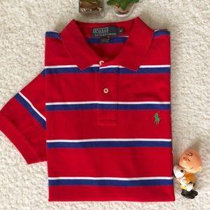 Ralph Lauren Red With Stripes Polo Shirt Medium